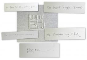 Collage of signature, titles, edition number & Miss Dickson's personal 'CHOP'