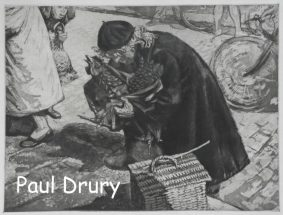 Paul Daloo Drury - Old lady with hen