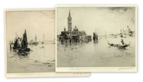 Shapland & Sweet - Pair of etchings of Venice