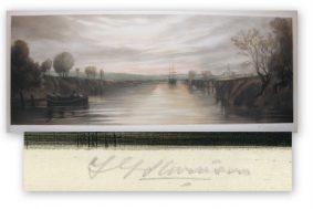 Stevenson, F G - Mezzotint of ship anchored on still water.