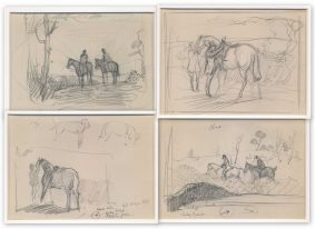 Donald Wood 4 Hunting Sketches